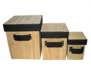 Cutii depozitare bambus patrate
