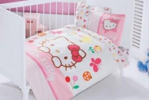 Lenjerii de pat copii Hello Kitty ieftine de o persoana